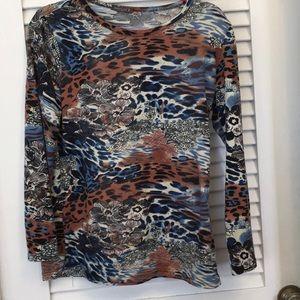 Tops - Blue Animal Print Tunic